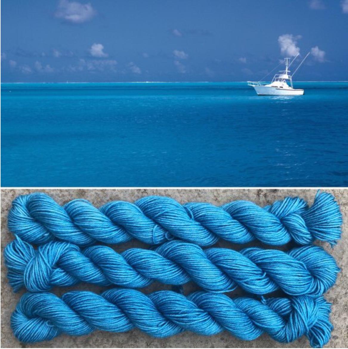 Deep ocean blue yarn