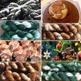 Christmas colored yarn; gingerbread man; Christmas tree; winter yarn