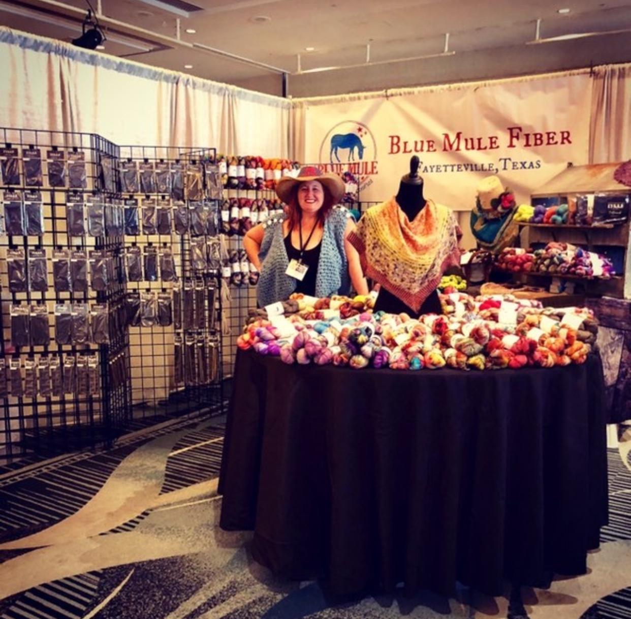 Yarn show with Blue Mule Fiber