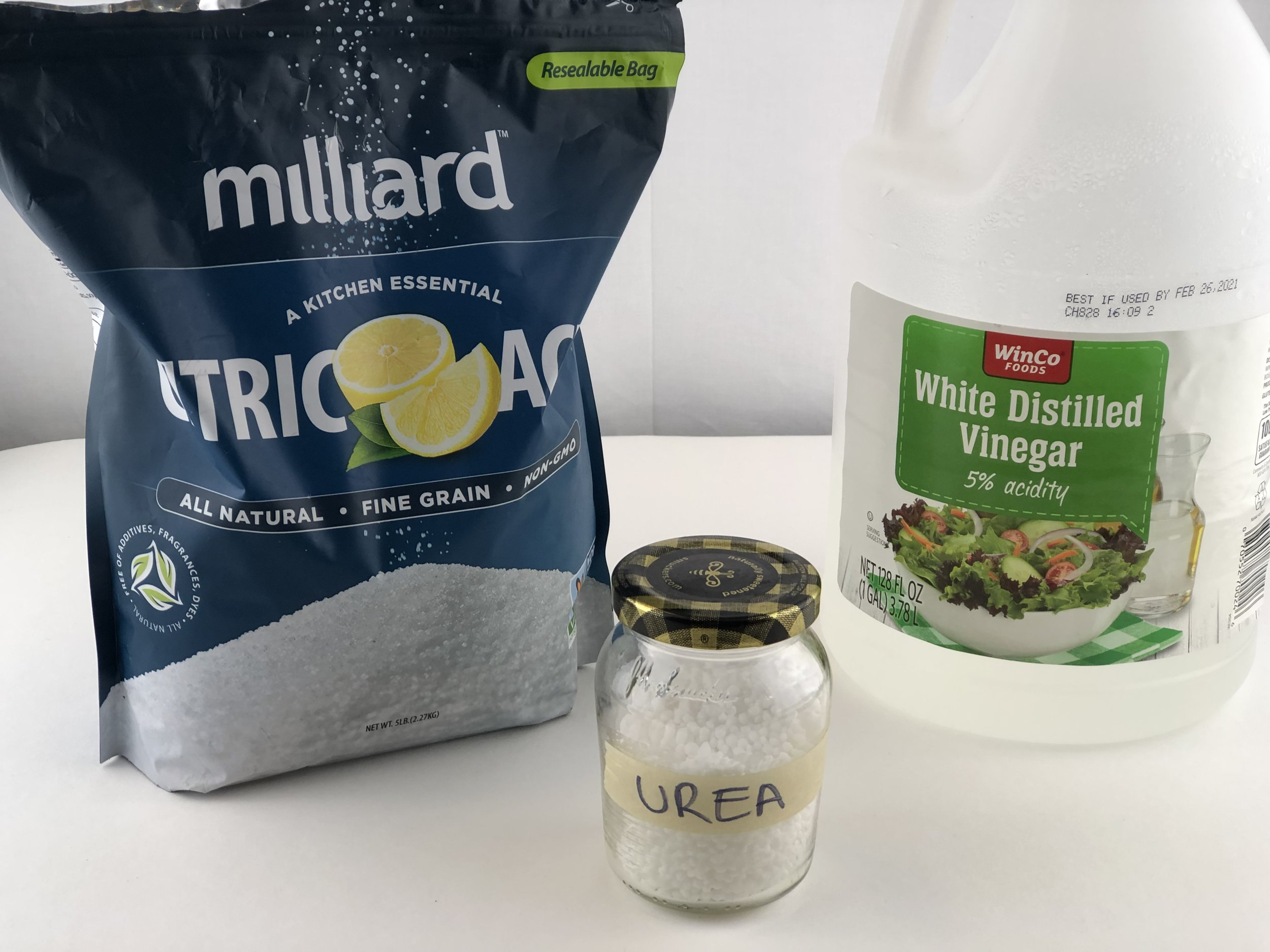 Citric Acid, Vinegar, and Urea - all chemicals needed for yarn dyeing techniques