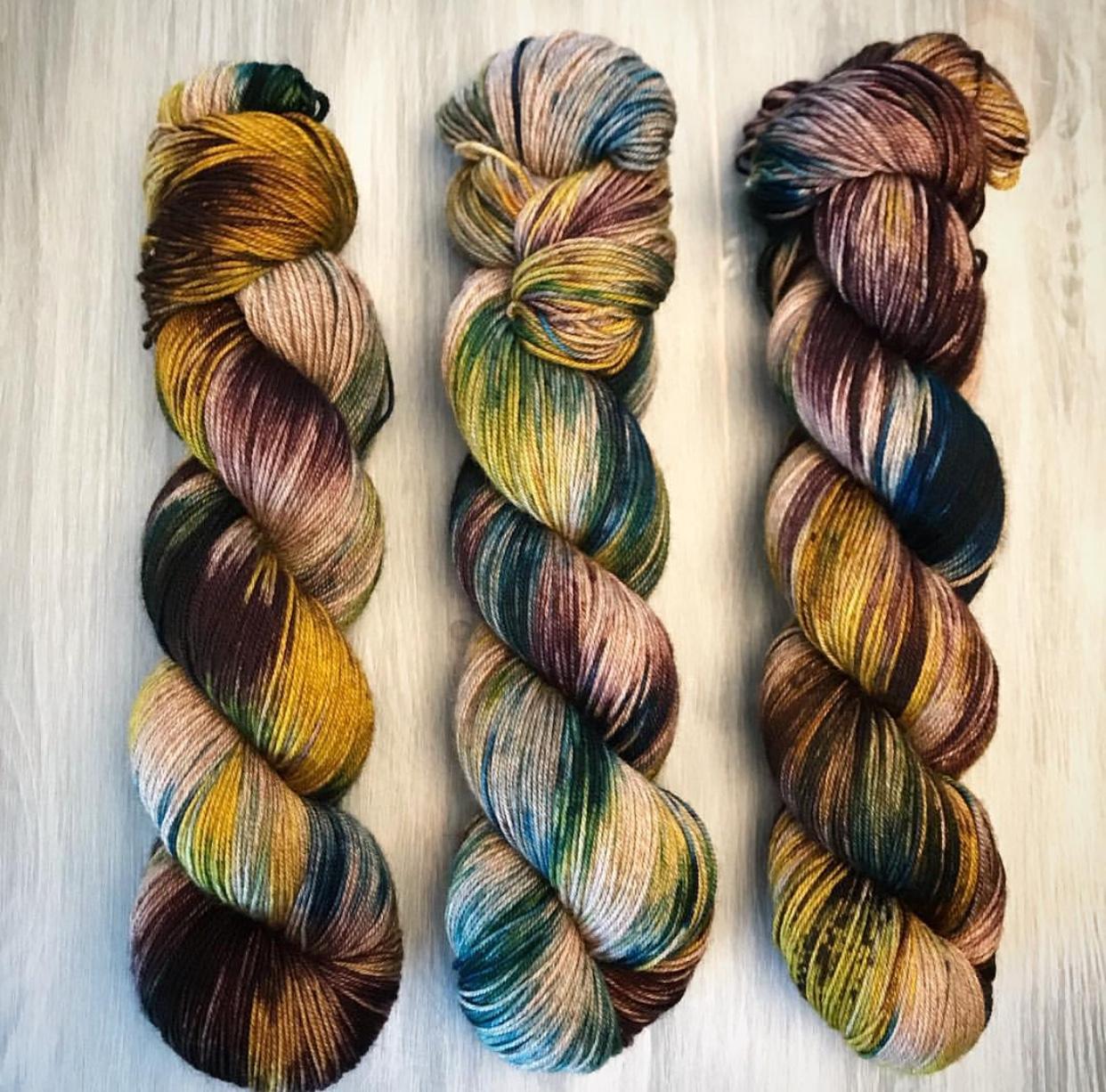 Vivid Wool's gorgeous yarns on merino nylon yak yarn