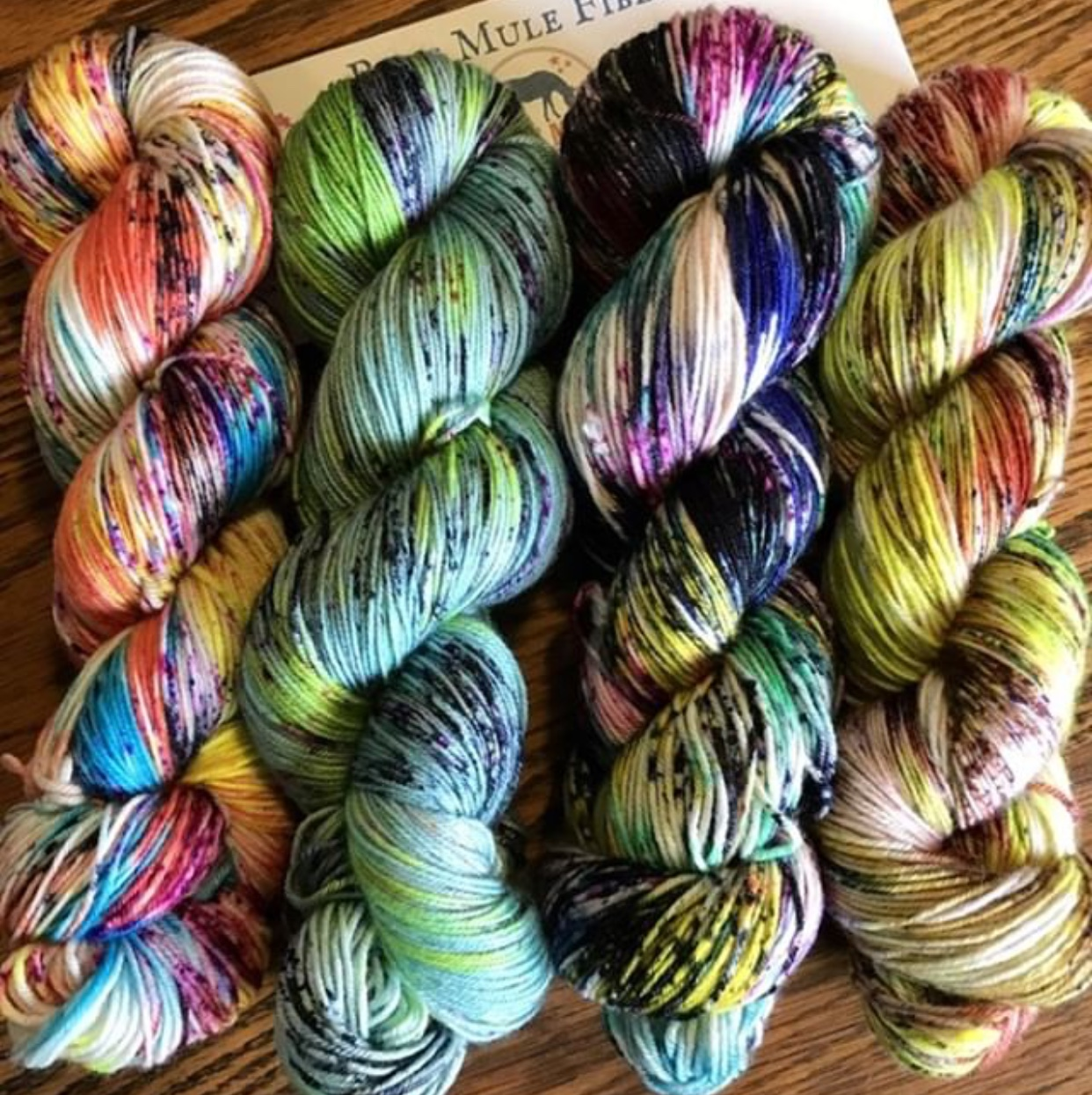 Beth and Ashley of Blue Mule Farm's gorgeous layout of their yarns