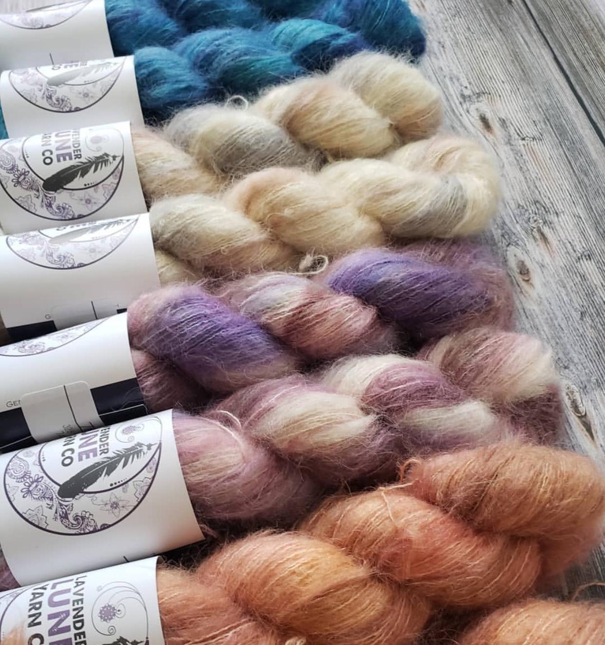 Sam of Lavender Lune Yarn's Suri Alpaca's Yarns