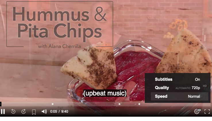 Alana Chernila's The From Scratch Kitchen - Making Hummus and Pita Chips - LOVE that each video has subtitles that work great!  Click the photo for a 7 day FREE trial to make this yourself :)