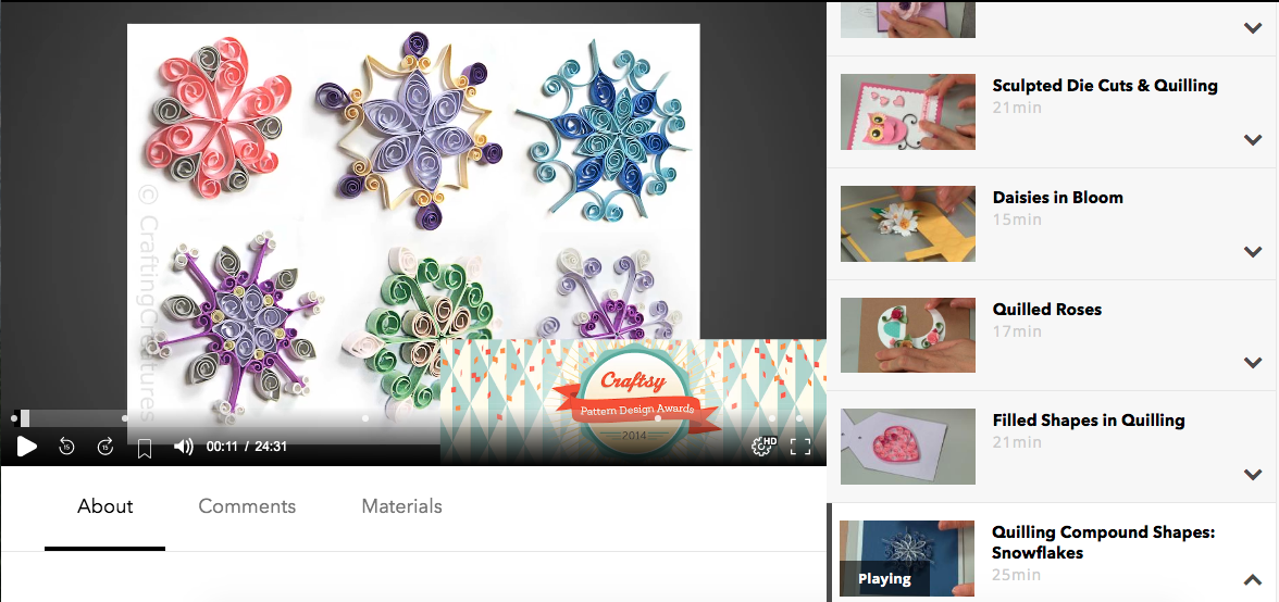 Cecelia Louie's Quilling Classes and her snowflakes that have earned her a Craftsy (now Bluprint) Pattern Design Awards in 2014.