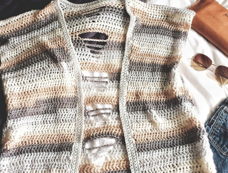 Twisted Arrow Designs' Twisted Arrow Cardigan using Double Crochet