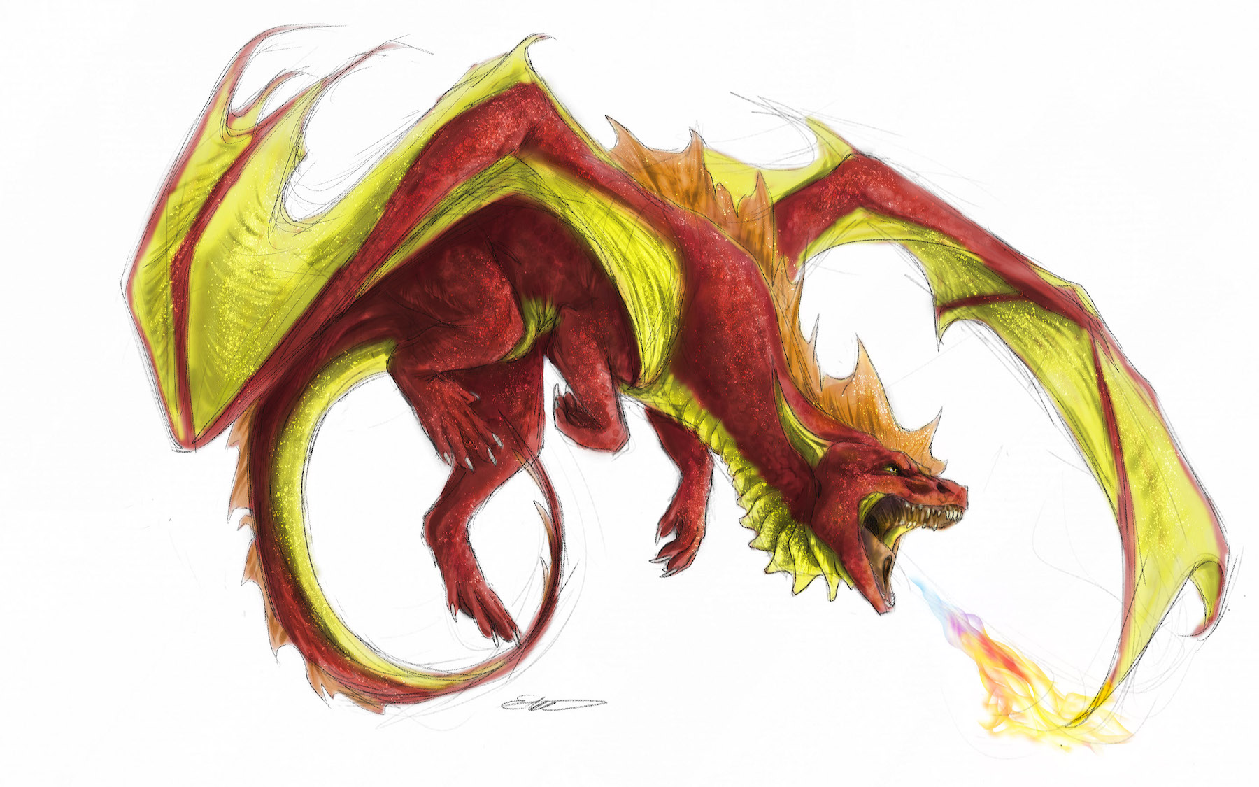 Dragon Spitting Fire with Savourychaffinch