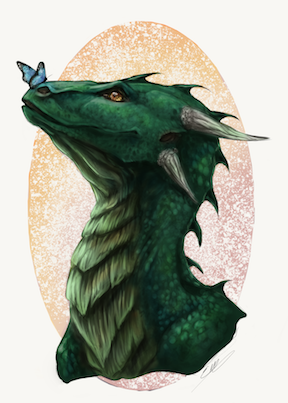 Green Dragon Drawing Art by Savoury Chaffinch