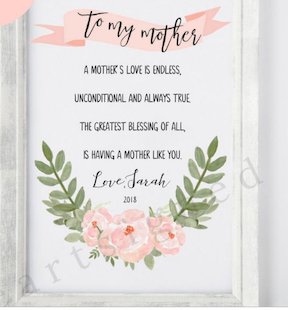 Heart Signed beautiful poster for Mother's Day