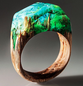Forest Magic with Rivka's gorgeous wood and resin ring