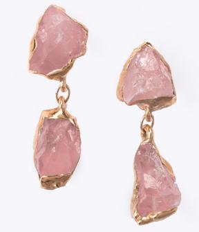 Ringcrush's breathtaking Rose Quartz raw gem earrings