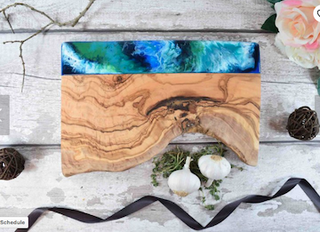 Kate Chesters Art Gorgeous Olive Wood Cheese Board with Resin