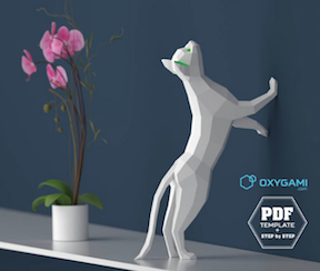 Oxygami's beautiful cat origami, perfect for any desk or shelf