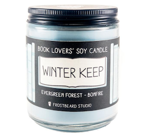 Frostbeard's awesome Winter Keep Book Lover's Soy Candle