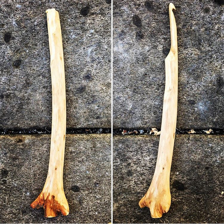 Before and after woodcarving crochet hook