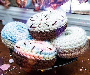 The Hook Pusher's SC Donut Pattern. These can be made in all sizes depending upon the yarn and crochet hook you use.