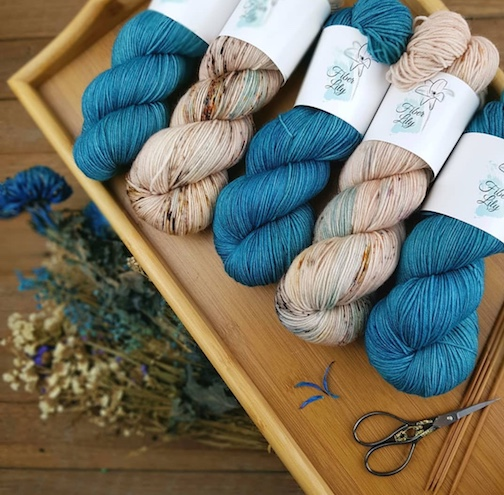 Kylie of Fiber Lily's gorgeous Cove and Peppermint Latte yarns
