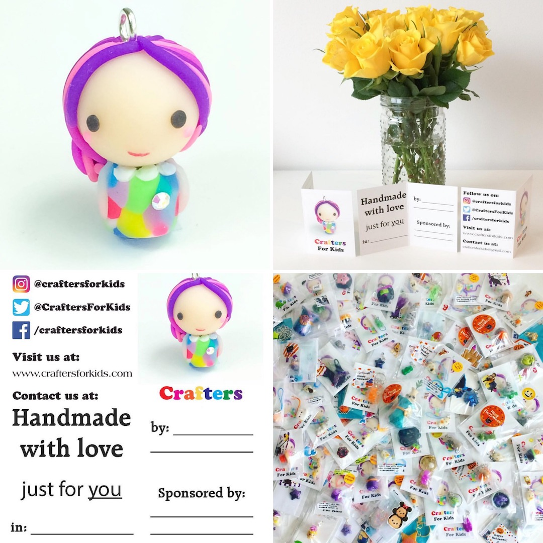 Our Crafters for Kids mascot, samples of cards which are filled out and included with each gift, and an assortment of wrapped donations.