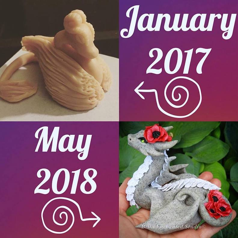 Clay Dragon Sculpture with Bella Enchanted Studios