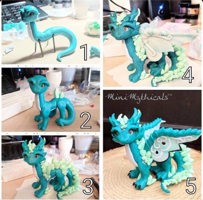 Clay Dragon Sculpture with Mini Mythicals
