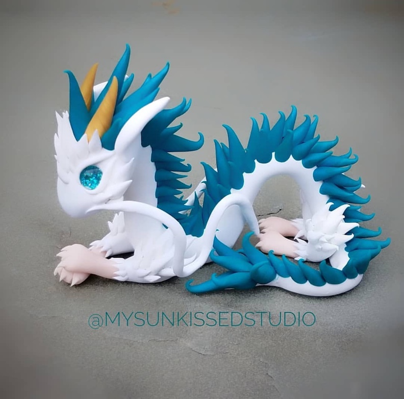 Clay Dragon Sculpture with My Sunkissed Studio