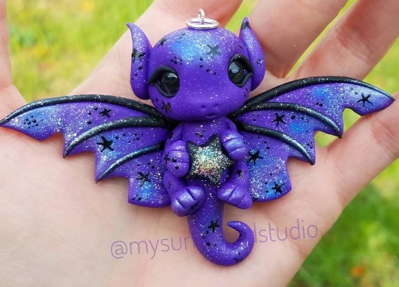 Galaxy purple clay dragon sculpture