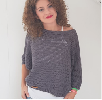 By Katerina's Bat Wing Sweater made in Half Double Crochet Stitch
