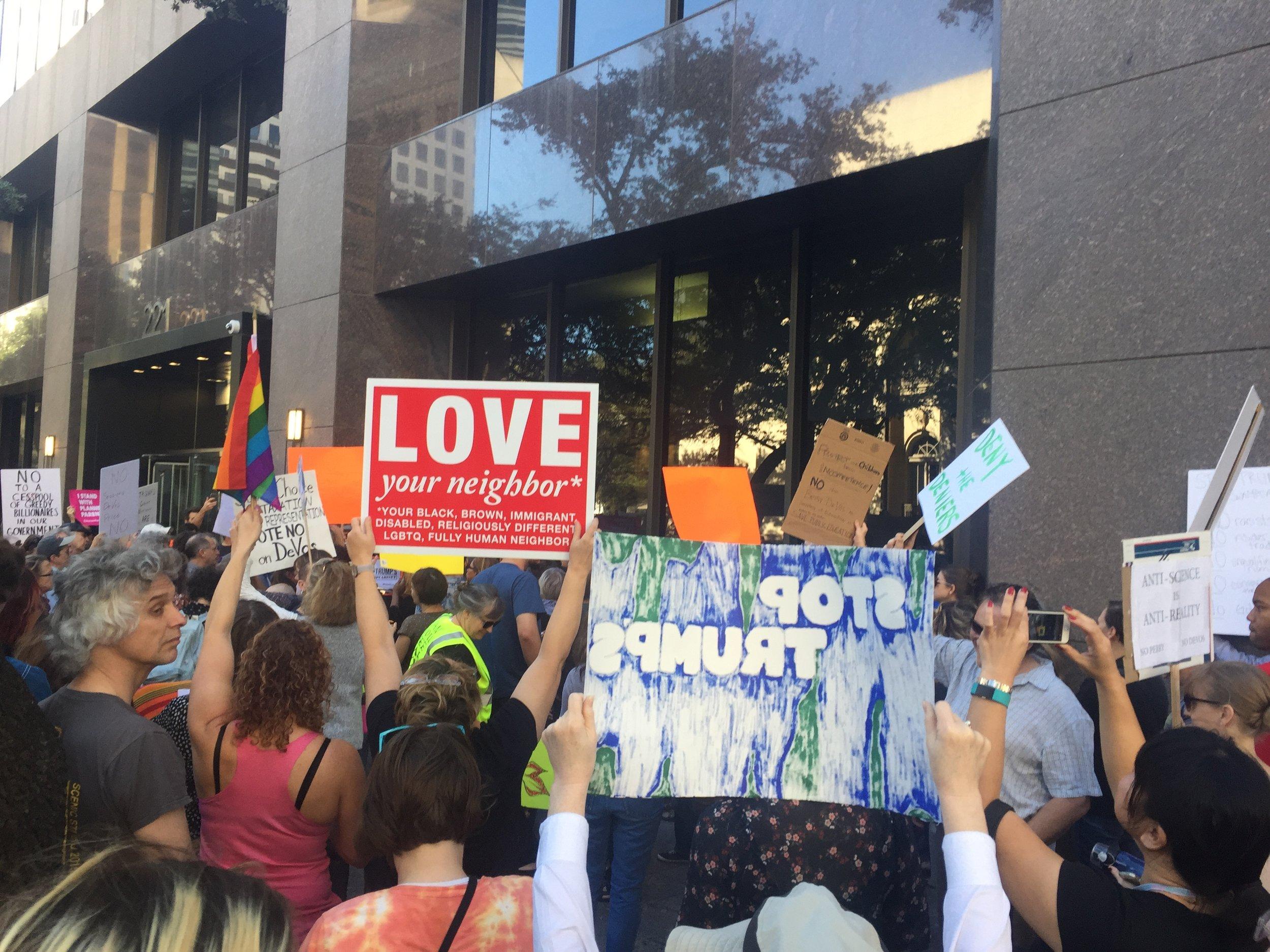 Protesting Trump's Cabinet at Sen. Cornyn's Office