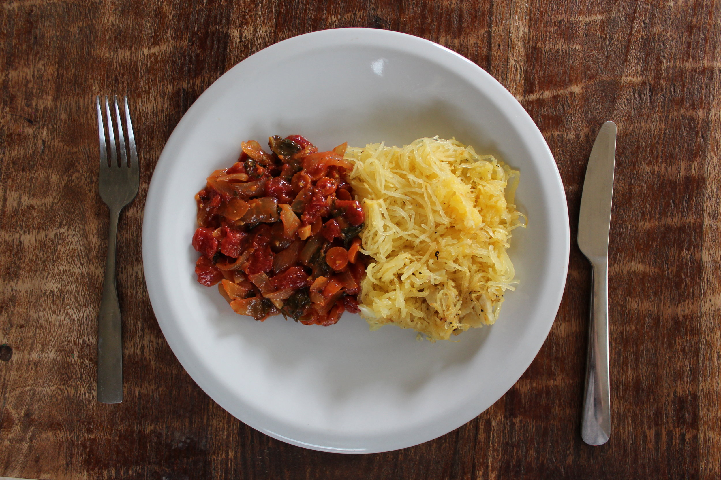 """This """"pasta"""" dish contains zero grains and is vegan and gluten-free all while still being DELICIOUS. It's a perfect opportunity to use summer tomatoes from the garden!"""
