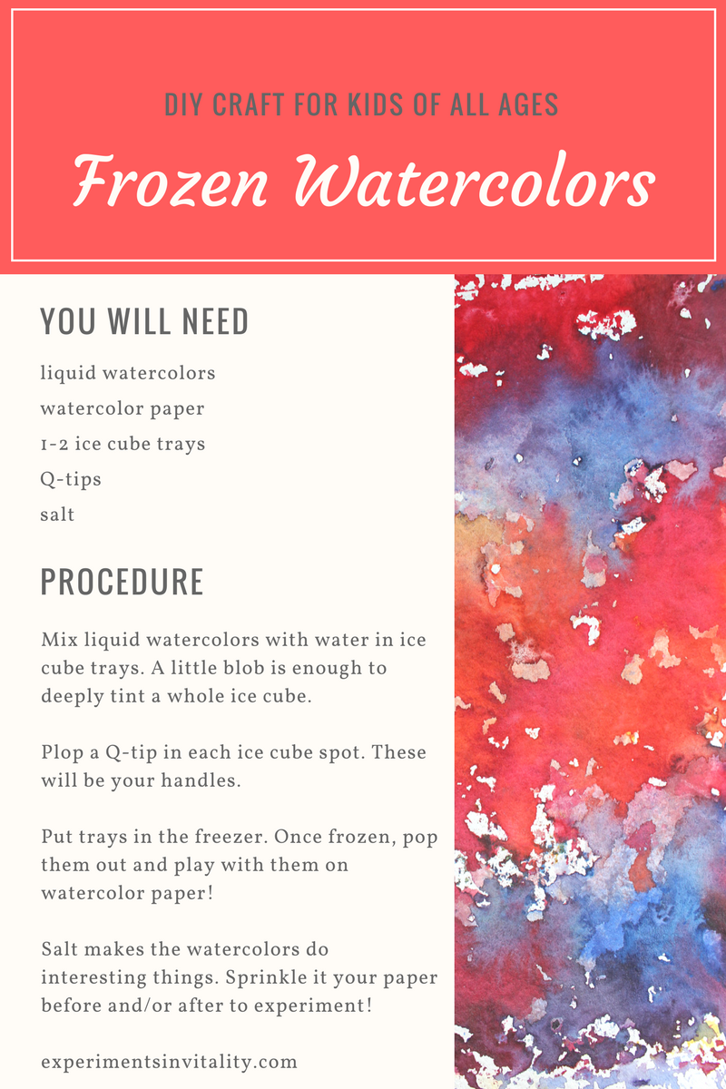 Frozen watercolors DIY craft for kids of all ages! Fun and easy clean up!