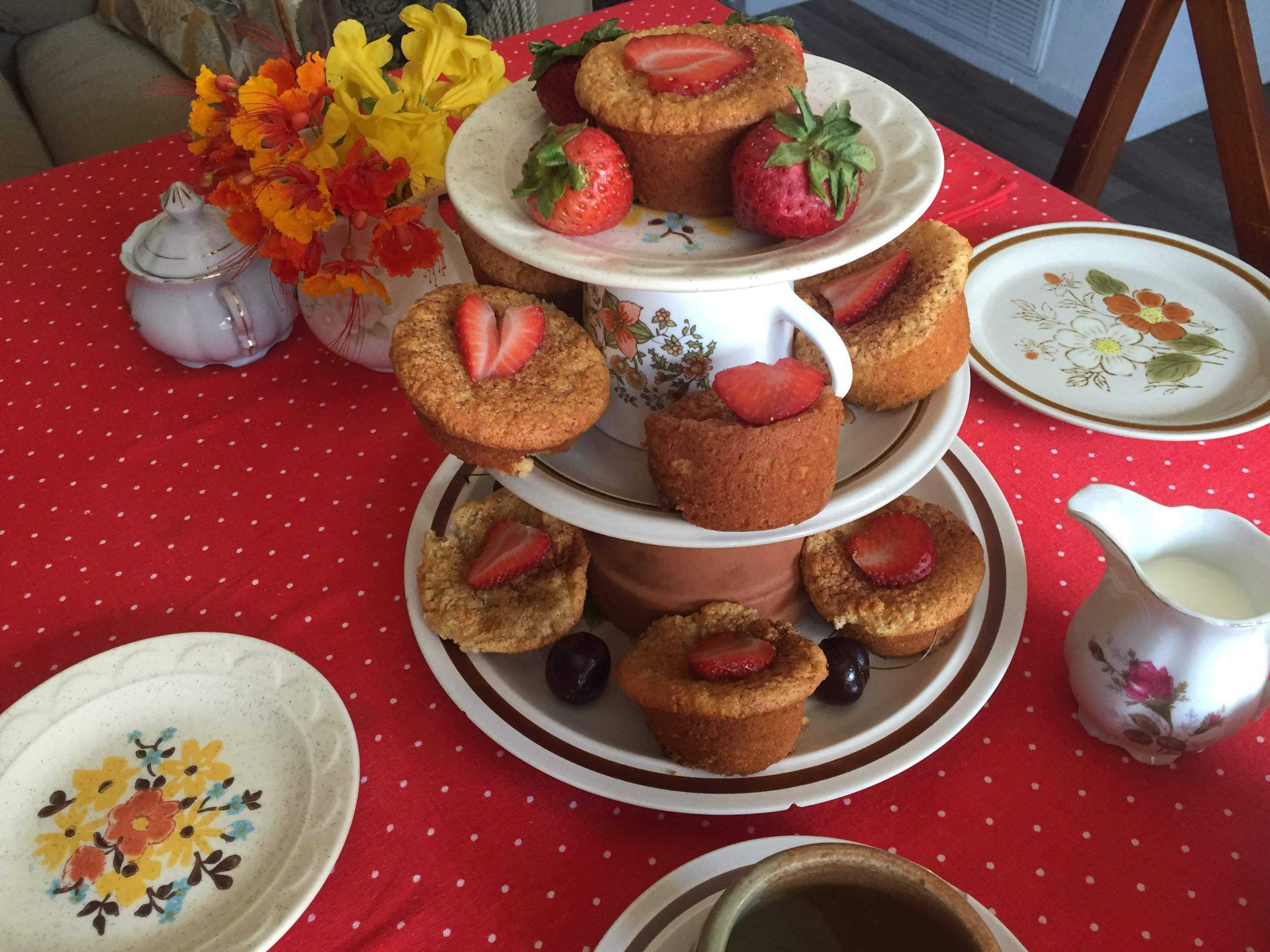 Cupcake town with gluten-free cupcakes and strawberries