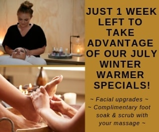 July's Winter Warmer Specials Only 1 week left! 💆‍♀️ Facial upgrade - Book a 60 minute Beautea Facial & only pay for 30 minutes or book a Luxe 90 minute Facial & only pay for 60 minutes 💗 🤲 Massage upgrade - Recieve a complimentary warm foot soak & sugar scrub with any massage booking 👣  Only a few spaces left!