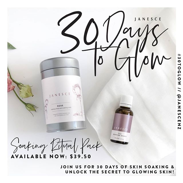 #30TOGLOW starts this Friday 1st November! ✨ Join us for 30 days of skin soaking, as we show you how to unlock the secret to glowing skin!  Download your free EBOOK here: https://janesce.co.nz/30-days-to-glow/  Pop in to the clinic tomorrow & grab your pack or order online tonight with free delivery in New Plymouth tomorrow.  #30toglow #janesce #beautynewplymouth