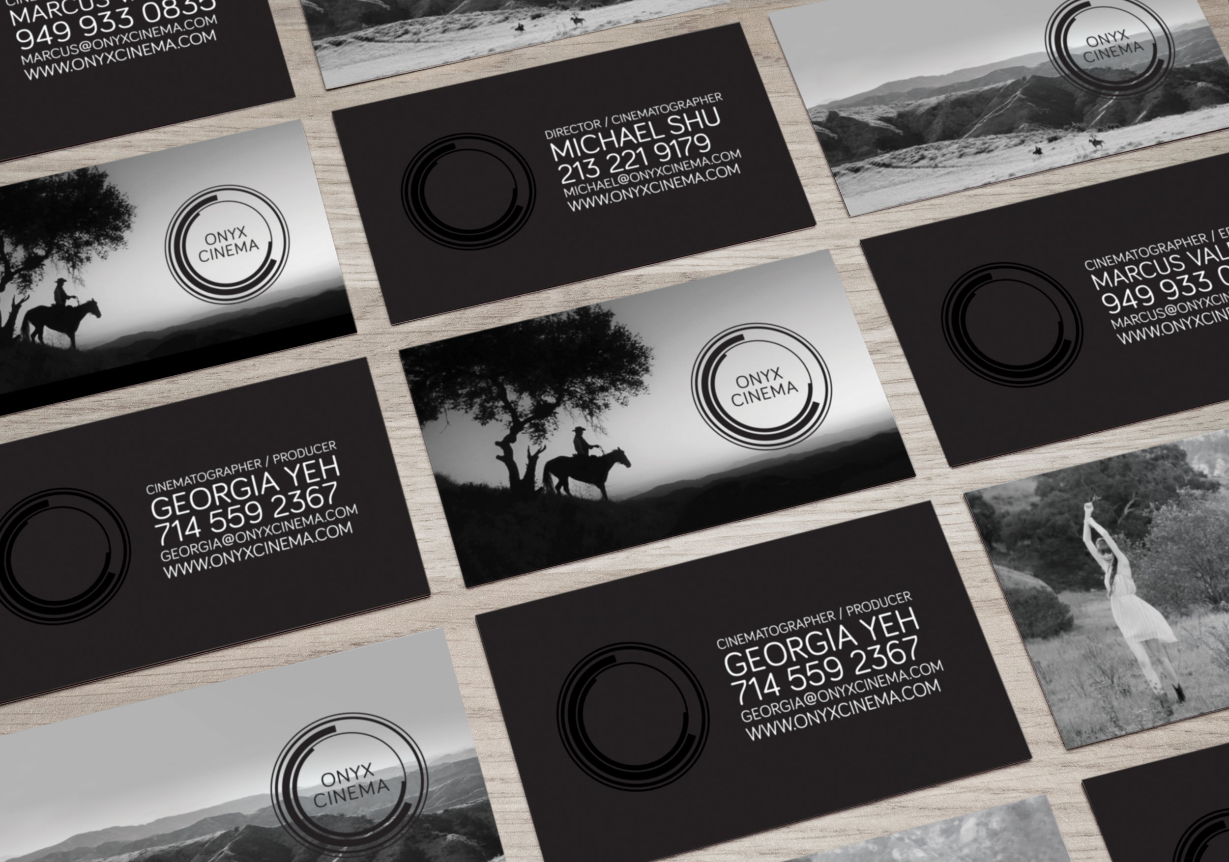 ONYX CINEMA | cinematography commercial video production | business card print design