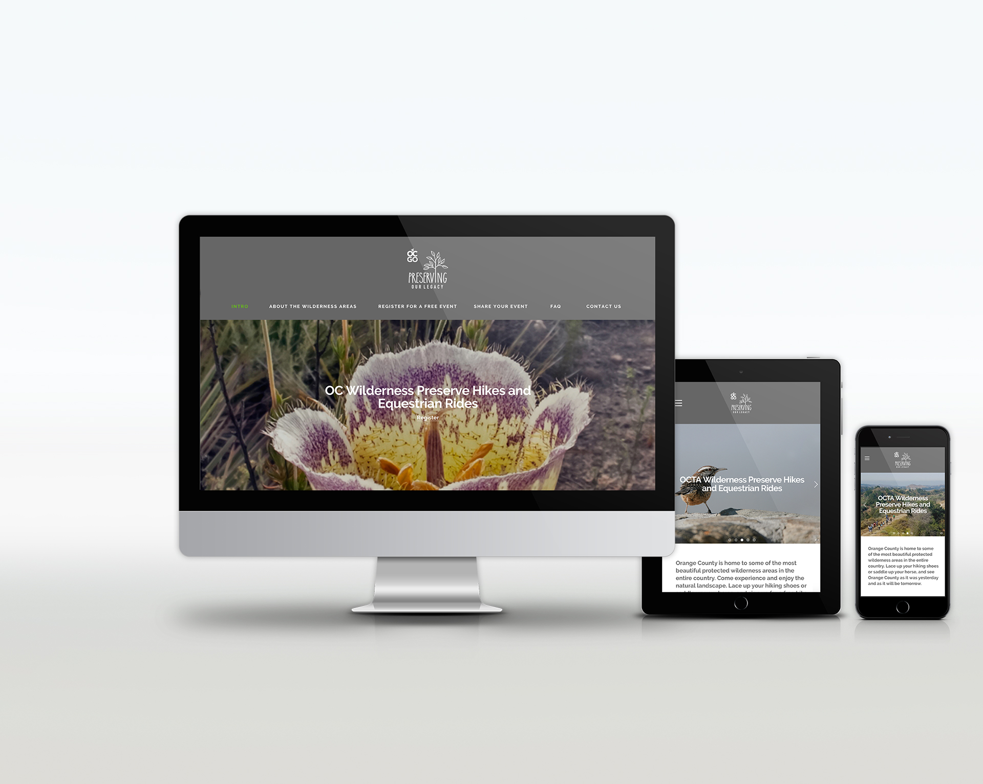 OC GO | protected lands and preserves in Orange County | brand, print, digital, website, web, microsite, social media design | nature, natural beauty
