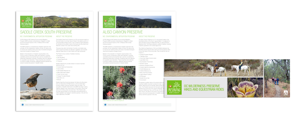 OC GO | protected lands and preserves in Orange County | print and flyer design | nature, natural beauty