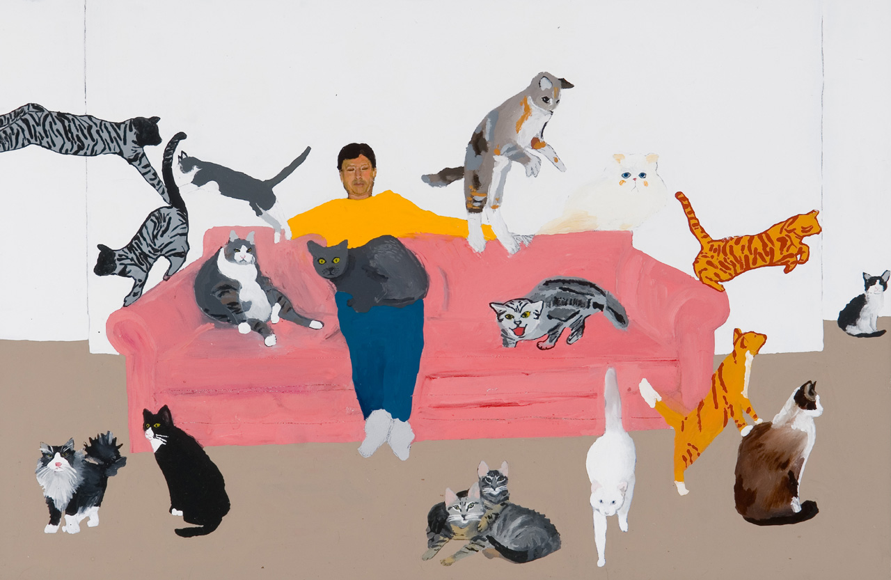 Russ with 15 of his cats