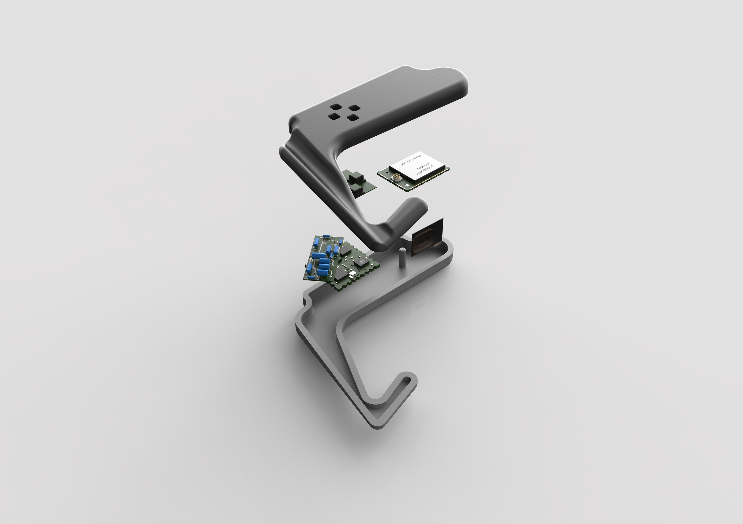 Exploded view of the ear piece