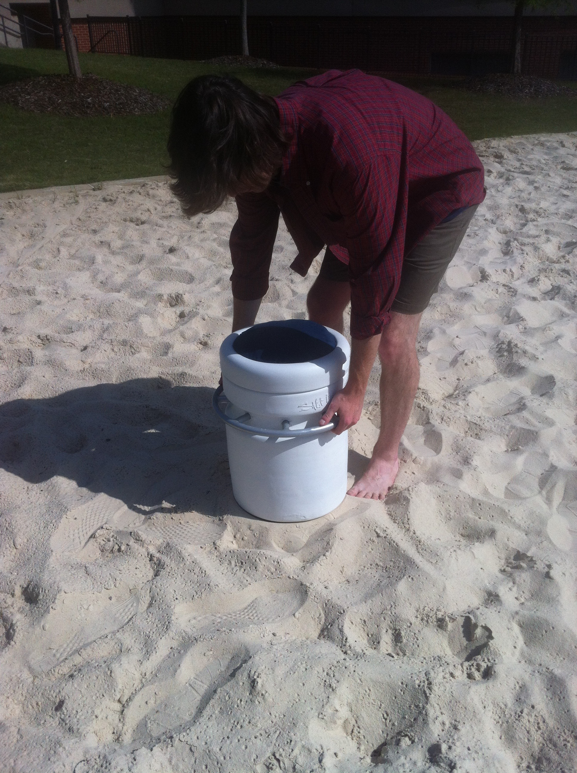 Stamping the sand