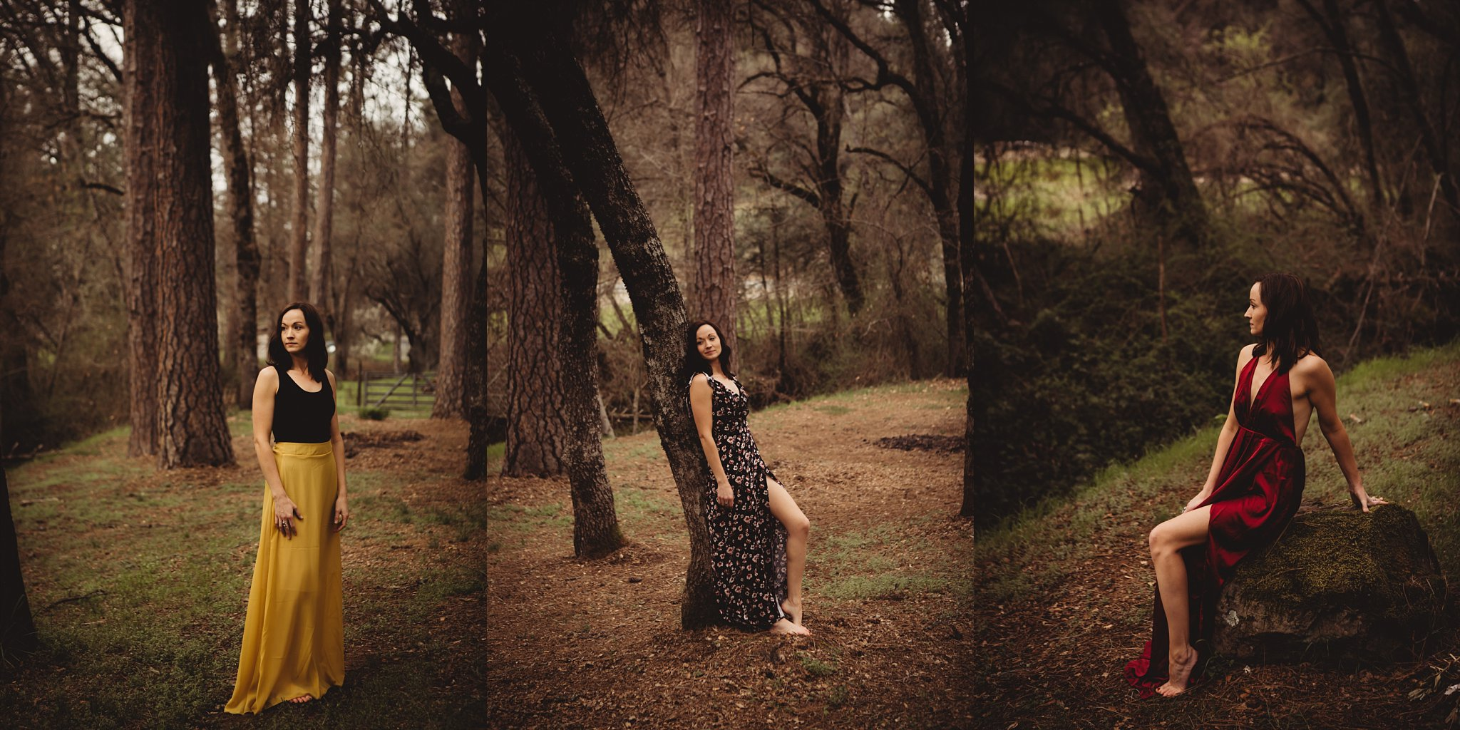 Women in dresses in woods