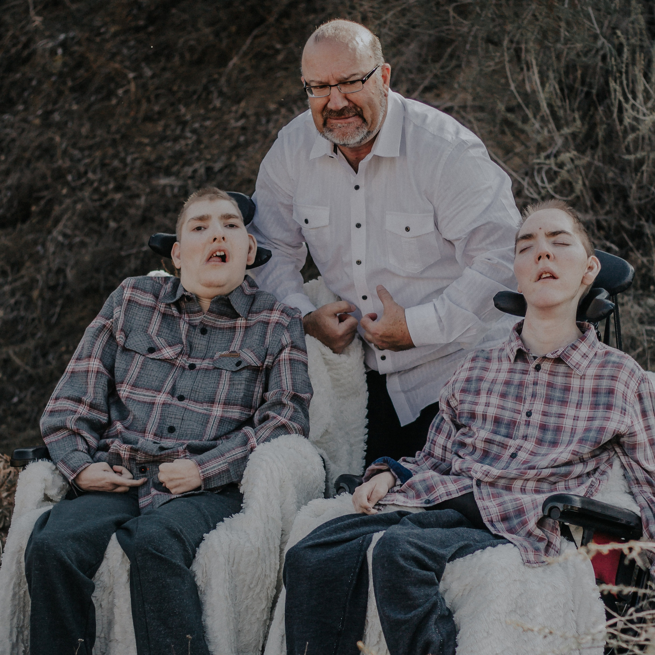 Walker being silly with his sons, Joshua & Matthew