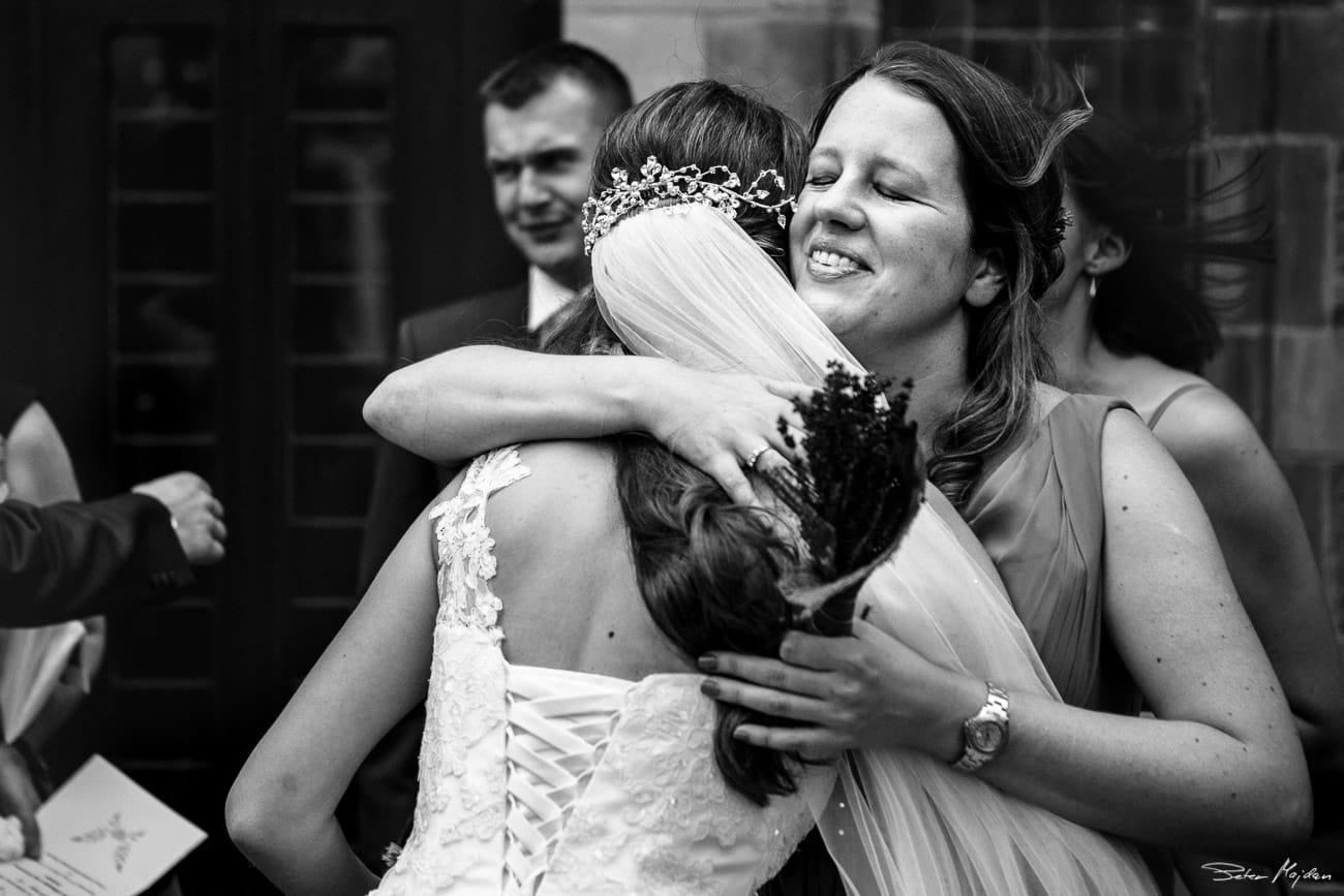 maid of honour congratulating bride