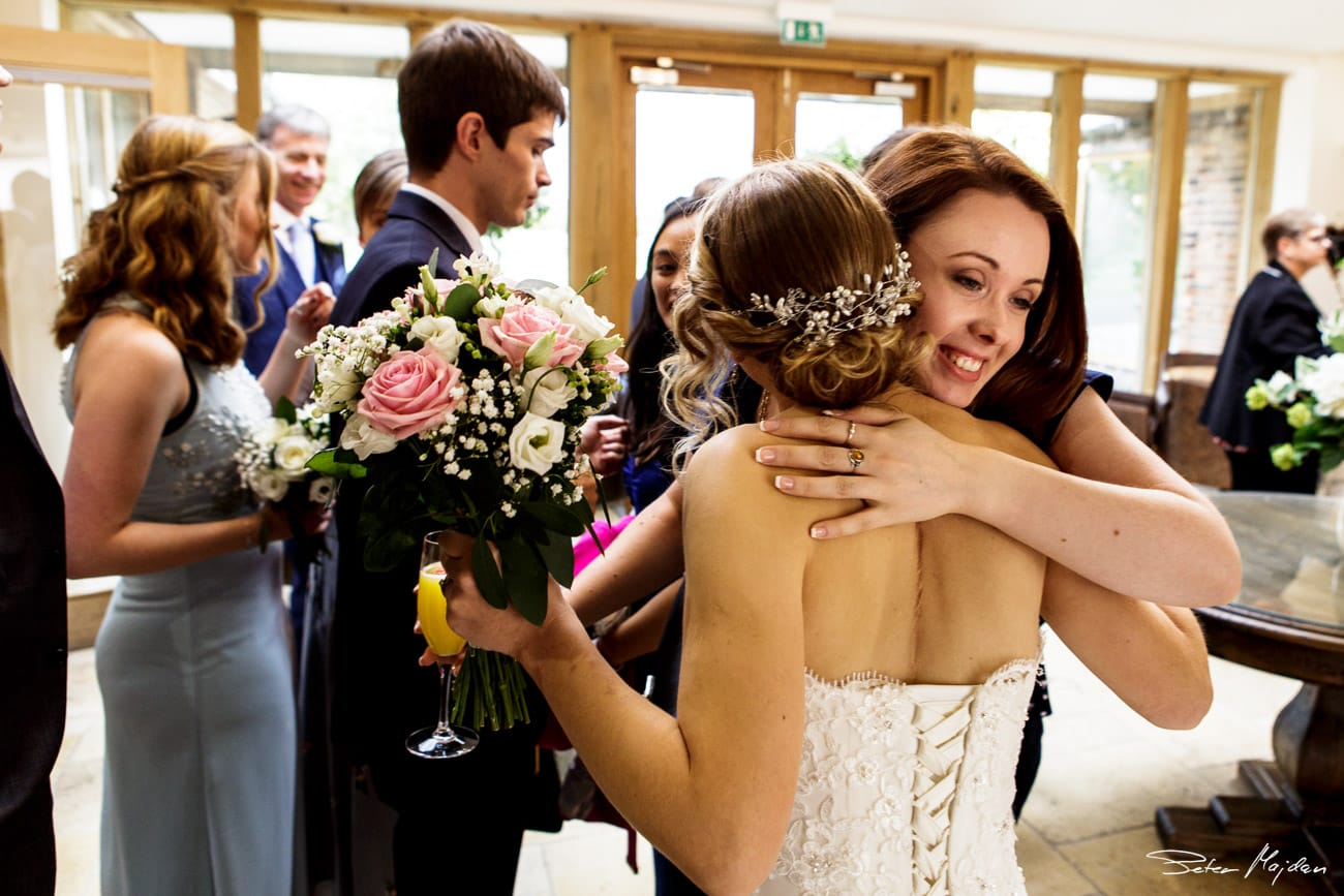 guest congratulating bride