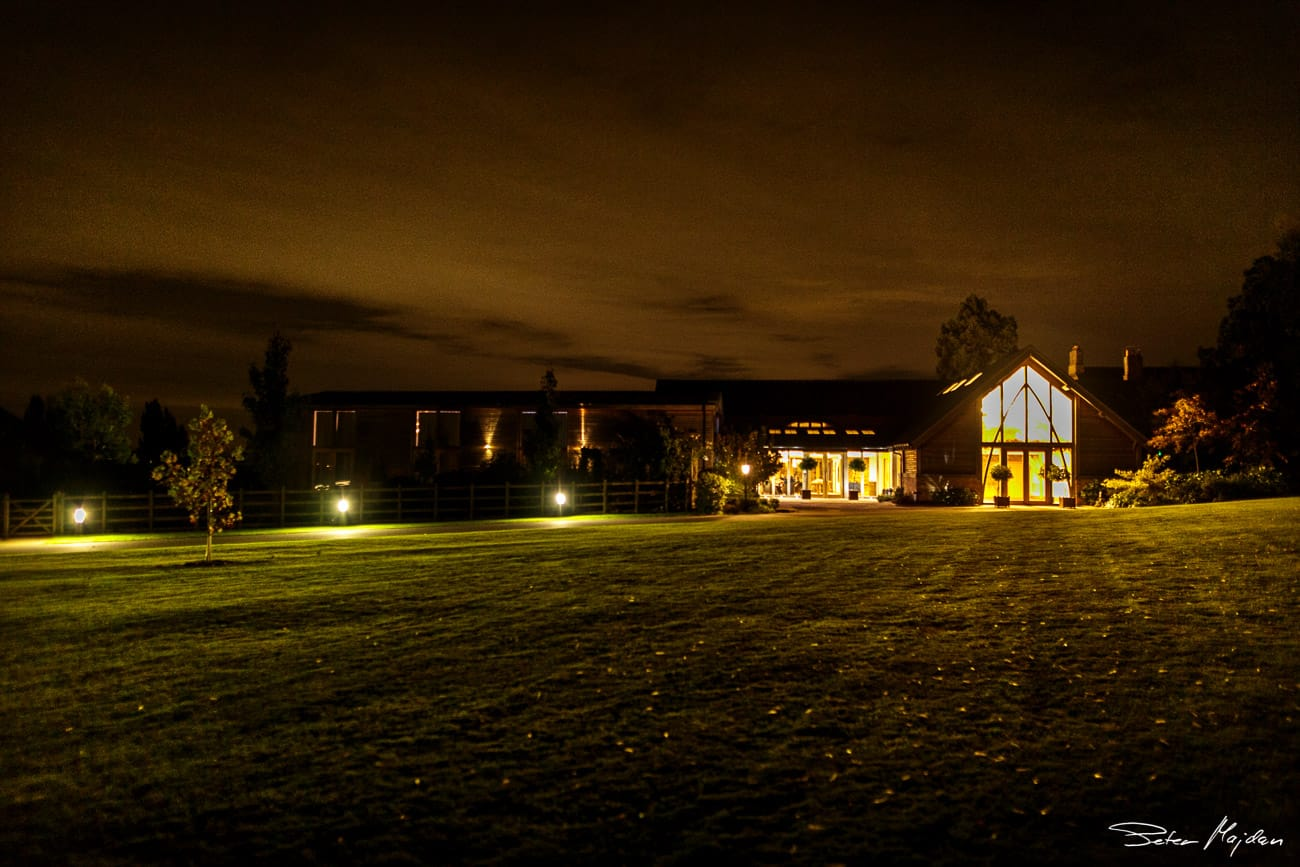 photo of mythe barn at night