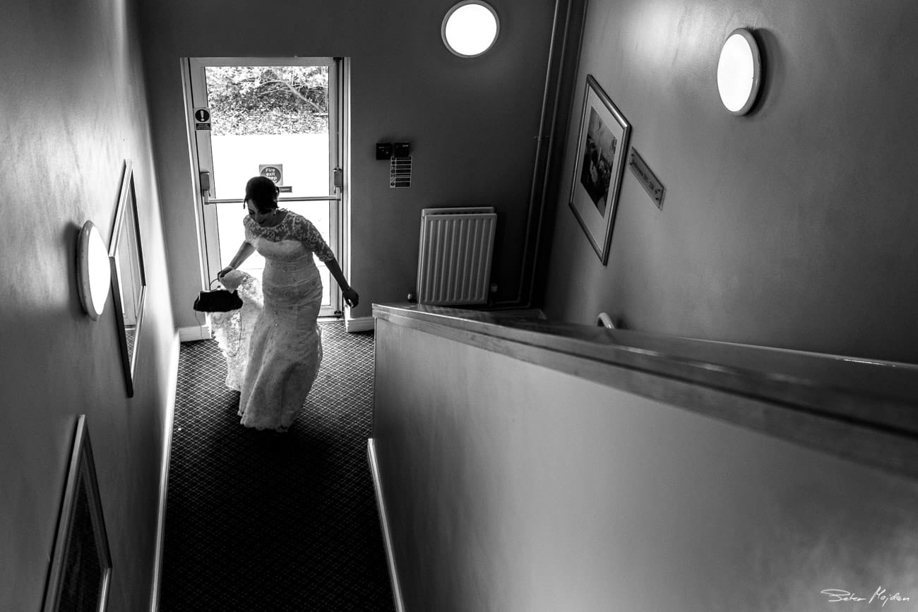 bride leaving to meet her father