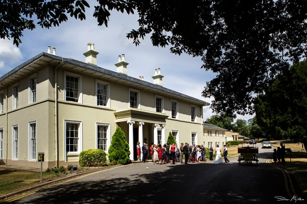 wedding guests outside eastwood hall