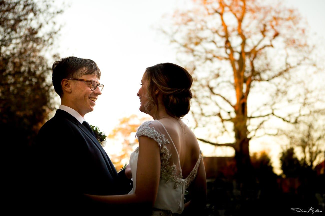 wedding portrait at sunset