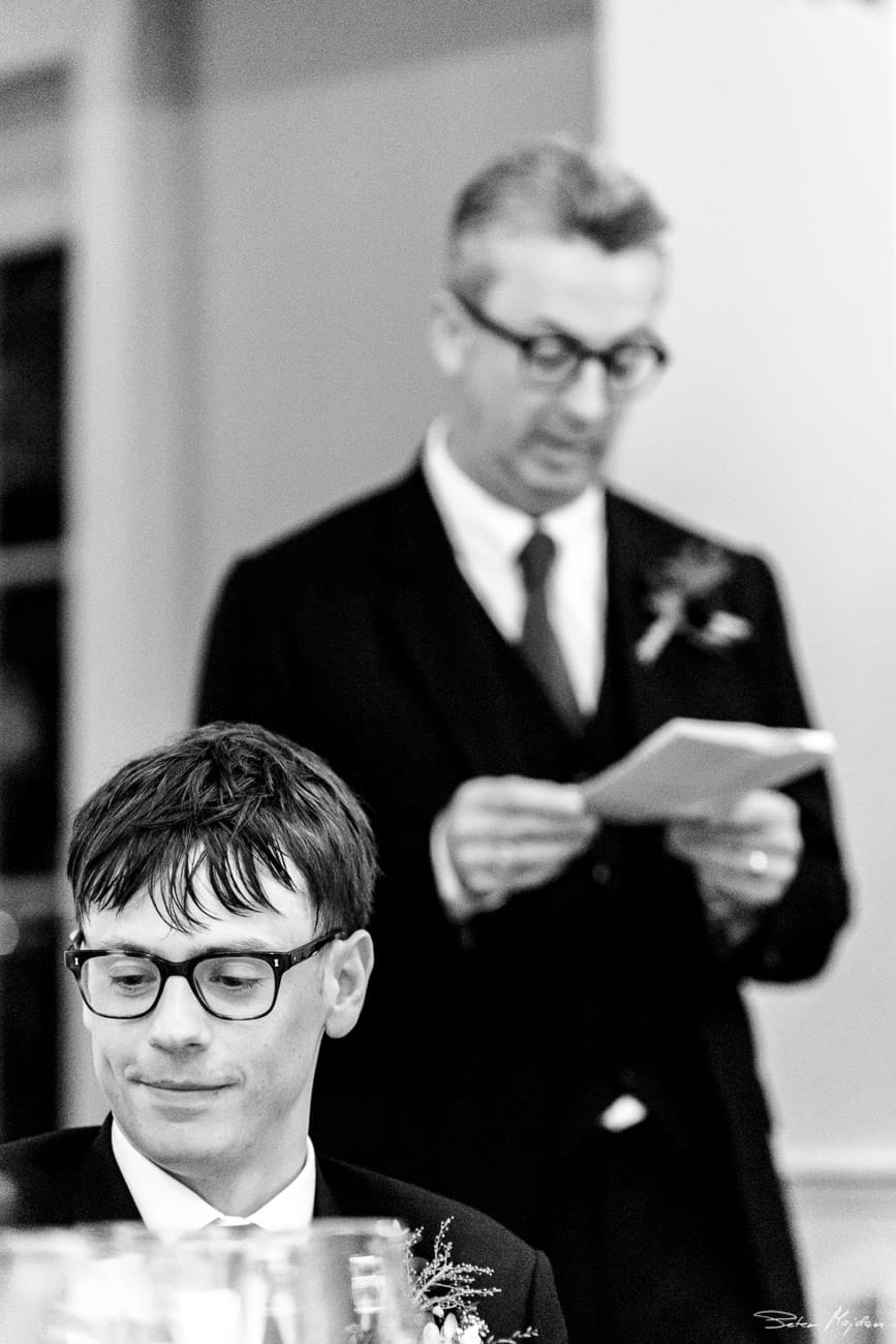 father of groom having speech