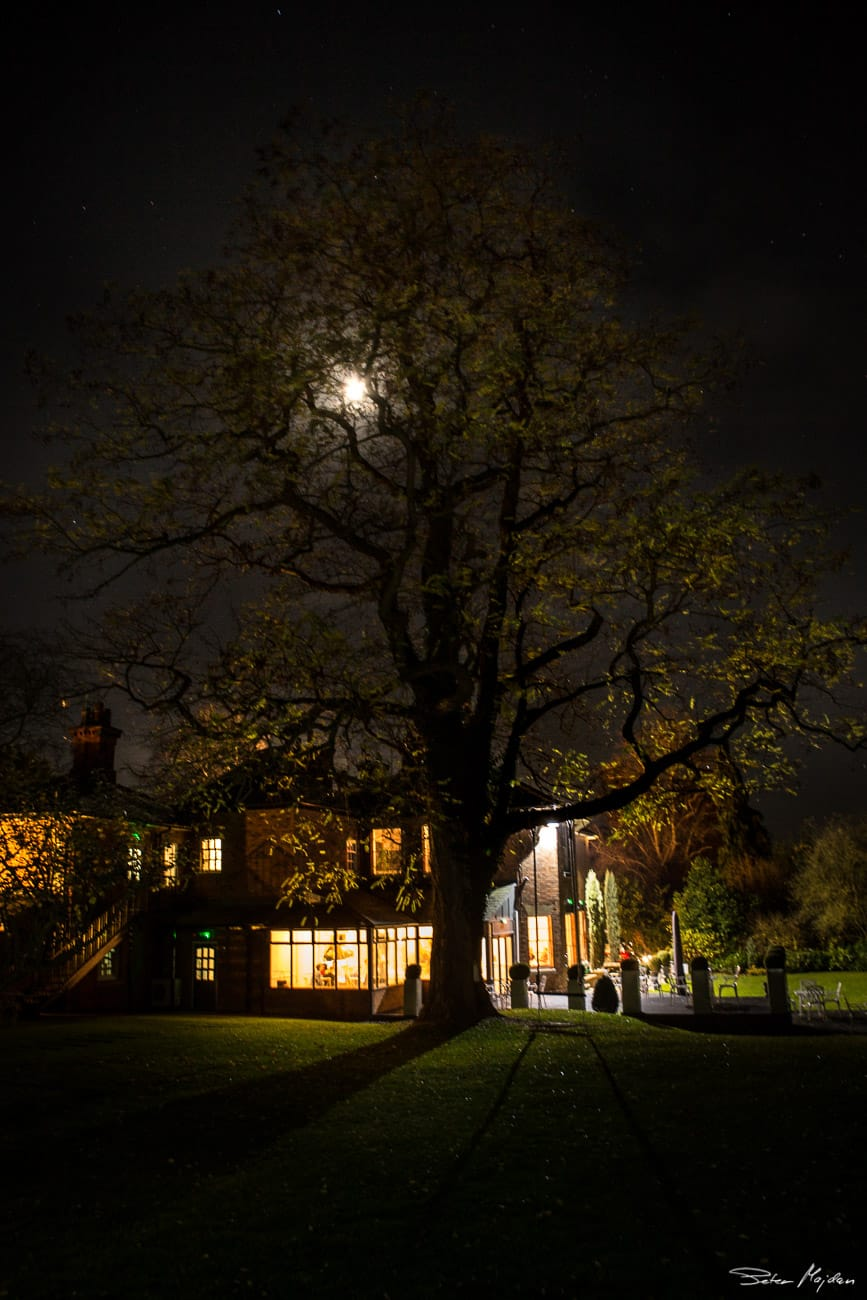 old vicarage from outside at night