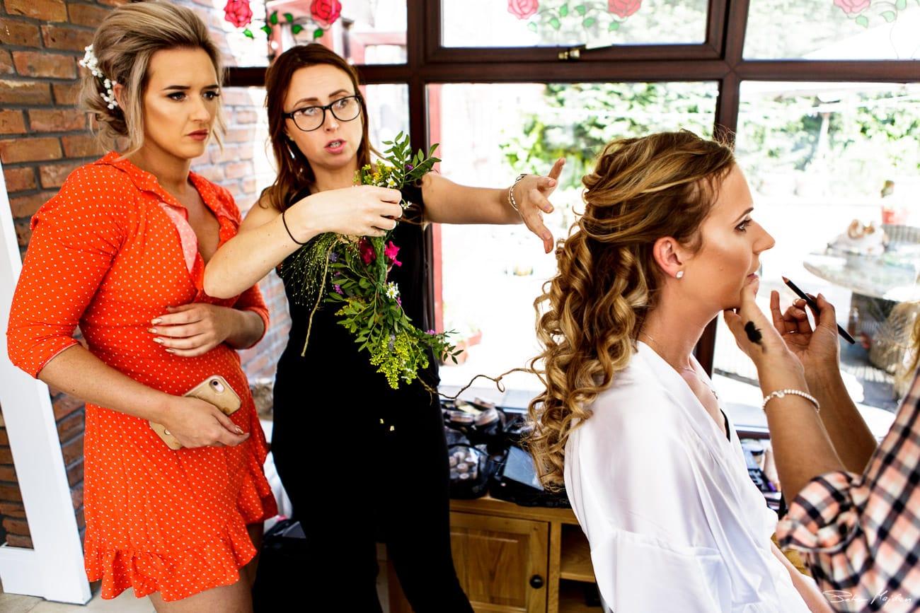 finishing brides hair